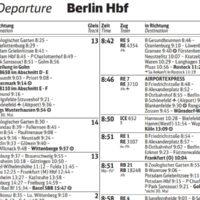 Deutsche Bahn Fahrplan, Berlin Hbf
