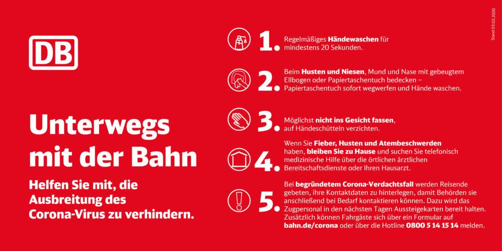 Die Ausbreitung des Coronavirus bei der Deutschen Bahn verhindern