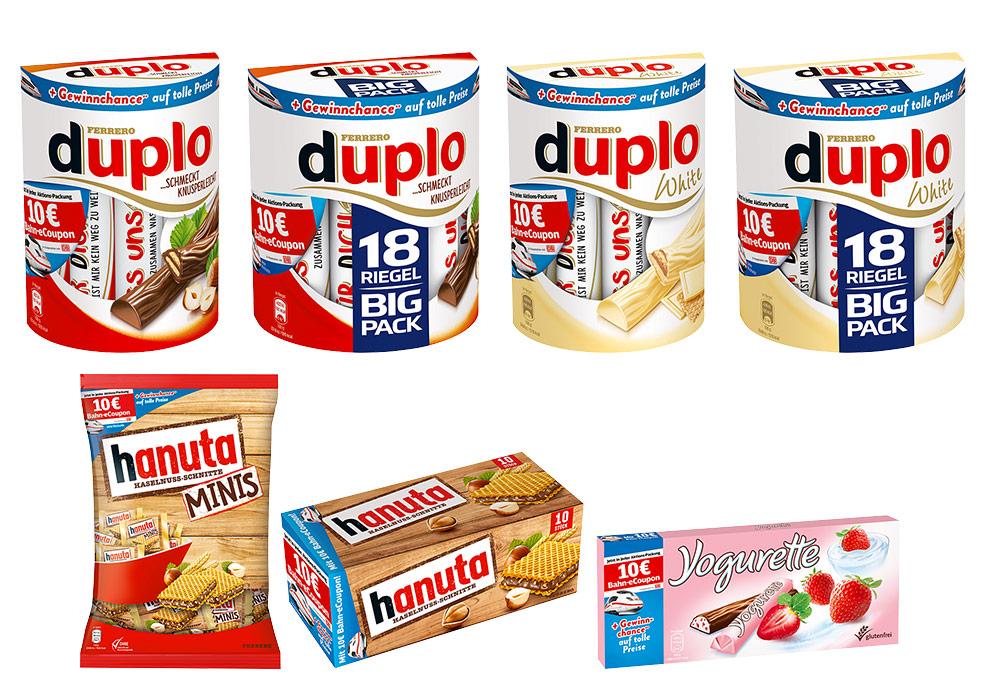 Bahn-eCoupon von duplo, hanuta und Yogurette